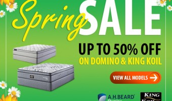 Up to 50% off all AH Beard Domino & King Koil mattresses