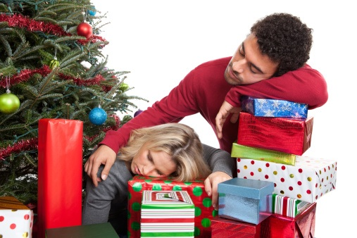 Couple exhausted from Christmas